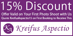 15% Discount, Offer Valid on Your First Photo Shoot with Us; Quote KreifusAspectio15 on First Booking to Receive This